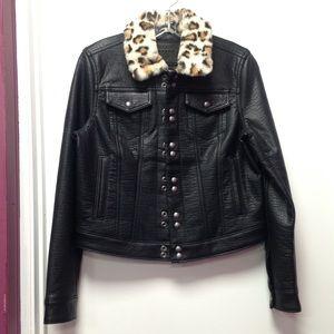Blank NYC Faux Fur Collar Bike Jacket